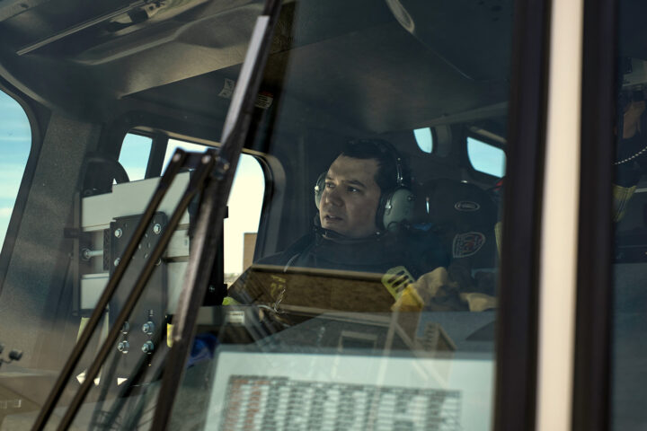fire engine driver with a dispatch headset